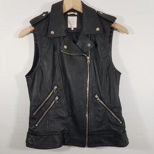 Zara Faux Leather Zip Up Vest Sleeveless Jacket S